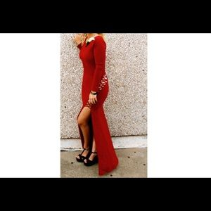 Classic red form fitting maxi dress with slit